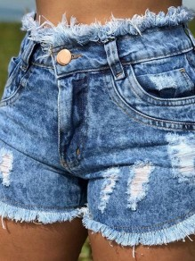 Light Blue Pocket Ripped Destroyed High Waisted Fashion Shorts Jeans