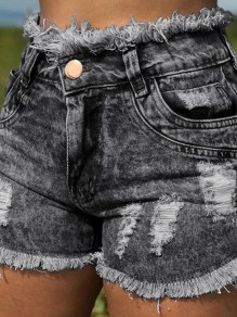 Black Pocket Ripped Destroyed High Waisted Fashion Shorts Jeans