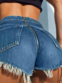 Dark Blue Zipper Ripped Destroyed High Waisted Fashion Shorts Jeans