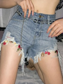 Dark Blue Ripped Destroyed High Waisted Fashion Shorts Jeans