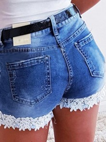 Blue Patchwork Lace Pocket High Waisted Fashion Shorts Jeans
