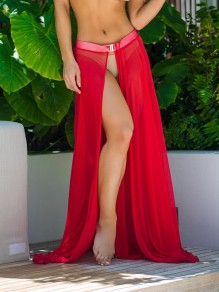Red Buckles Grenadine Elastic Waist Mid-rise Side Slits Beach Cover Up Long Skirt
