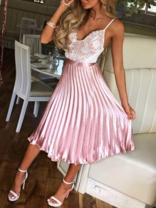 Pink Pleated Zipper High Waisted Ruched Flare Elegant Party Prom Long Skirt