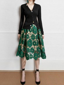 Green Cut Out Lace Elastic Waist Sweet Party Skirt