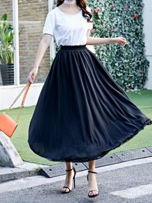 Black Pleated High Waisted Layers Of Grenadine Fluffy Puffy Tulle Elegant Skirt