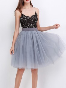 Grey Layers Of Grenadine Fluffy Puffy Tulle Chiffon Homecoming Party Short Princess Skirt