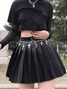 Black Pleated Pu Leather High Waisted Goth Gothic Alternative Vintage Short Skirt