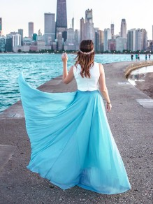 Blue Patchwork High Waisted Grenadine Ankle Length Chiffon Skirt