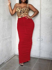 Red Pleated Drawstring Scrunch Party High Waisted Long Skirt