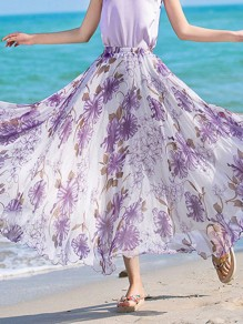 Purple Floral Print Draped Elastic Waist Fashion Chiffon Skirt