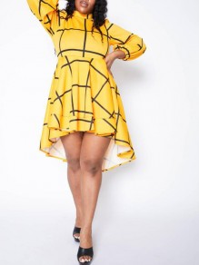 Yellow-Black Plaid Irregular High-low Plus Size Swallowtail Elegant Party Midi Dress