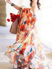 Orange Floral Chiffon High Waisted Bohemian Beach Skirt