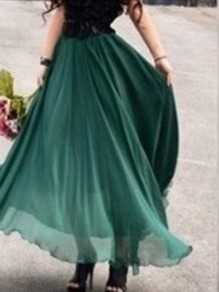 Green Elastic Waist High Waisted Chiffon Bohemian Beach Skirt