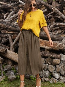Khaki Buttons Pleated Front Slit High Waisted Maxi Skirt