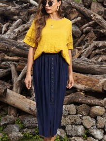 Blue Buttons Pleated Front Slit High Waisted Maxi Skirt