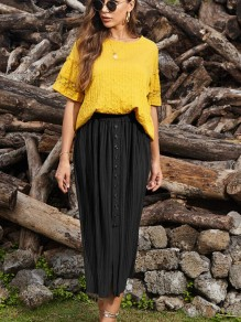 Black Buttons Pleated Front Slit High Waisted Maxi Skirt