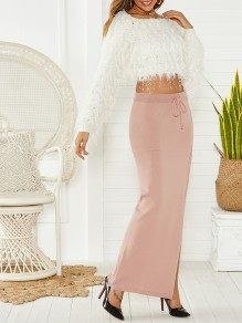 Pink Plain Buttons Side Slit Sashes Bodycon Lace Up Sweet Skirt