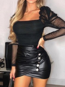 Black Buttons Pleated PU Leather Latex Rubber Party Skirt
