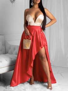 Red Pleated Irregular High-Low Party Long Skirt