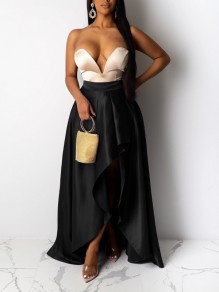 Black Pleated Irregular High-Low Party Long Skirt