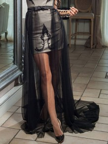Black Patchwork Grenadine Bow Removable Fluffy Puffy Tulle Skirt