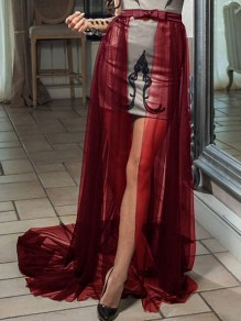 Burgundy Patchwork Grenadine Bow Removable Fluffy Puffy Tulle Skirt