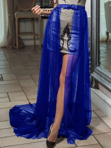 Blue Patchwork Grenadine Bow Removable Fluffy Puffy Tulle Skirt