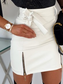 White Zipper Bodycon PU Leather Latex Rubber Party Skirt