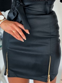 Black Zipper Bodycon PU Leather Latex Rubber Party Skirt