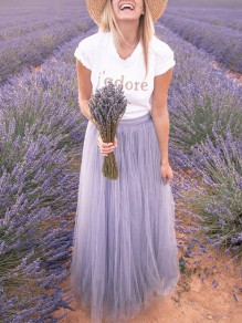 Lavender Patchwork Grenadine Pleated High Waisted Wedding Prom Party Long Tulle Skirt