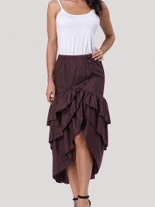 Coffee Cascading Ruffle Bow High Waisted High-low Vintage Skirt