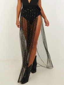 Black Grenadine Little Starry Sequin Side Slit Sheer High Waisted Clubwear Flowy Skirt