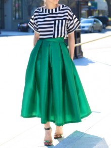 Green Pleated Pocket Below Knee Loose Fashion Skater Homecoming Party Midi Skirt