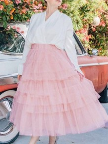 Pink Patchwork Pleated Grenadine High Waisted Party Skirt