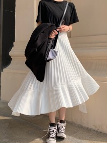 White Pleated Irregular High Waisted Fashion Maxi Skirt