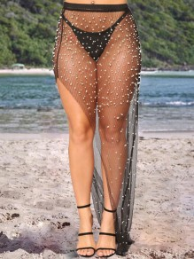 Black Cut Out Patchwork Pearl Side Slit High Waisted Mesh Fishnet Sheer Clubwear Beach Cover Up Maxi Skirt