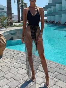 Black Belt Mesh Fishnet With Rhinestones Slit High Waisted Bikini Cover Up Diamond Maxi Skirt