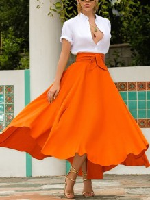 Neon Orange Irregular Pockets Belt Lace-up High Waisted Flowy Cute Maxi Skirt