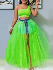 Neon Green Buttons Pockets Patchwork Fluffy Puffy Tulle Grenadine High Waisted Slit Denim Maxi Skirt
