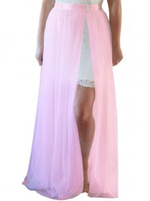 Pink Grenadine High Waisted Slit Tulle Tutu Wedding Maxi Skirt