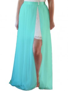 Green Grenadine High Waisted Slit Tulle Tutu Wedding Maxi Skirt