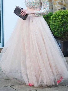 Light Pink Grenadine High Waisted Plus Size Bridesmaid Banquet Party Long Skirt