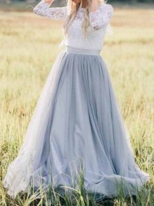 Light Grey Grenadine High Waisted Plus Size Bridesmaid Banquet Party Long Skirt