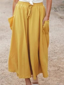 Yellow Patchwork Pockets Ankle Length Drawstring Waist Fashion Skirt