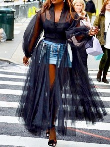Black Patchwork Grenadine Denim Skirt Fluffy Puffy Tulle Slit Flowy Wedding Long Skirt