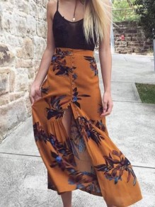 Yellow Floral Buttons High Waisted Vintage Maxi Skirt