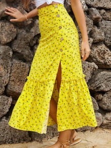 Yellow Floral Buttons Side Slit Sweet Maxi Skirt
