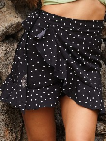 Black Polka Dot Ruffle High Waisted Cute Mini Skirt