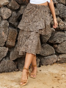 Khaki Leopard Ruffle High Waisted Fashion Midi Skirt