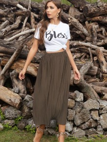 Khaki Pleated skirt High Waisted Fashion Maxi Skirt